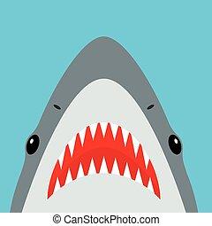 afiado, tubarão, boca aberta, dentes