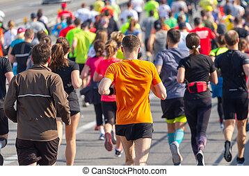 aficionado, gente, corra, maratón, muchos