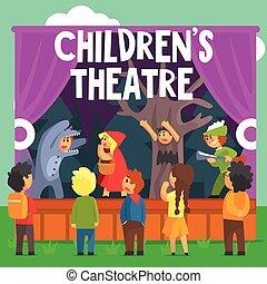 aficionado, teatro, cuento, rojo, rendimiento, hada, niños, ...