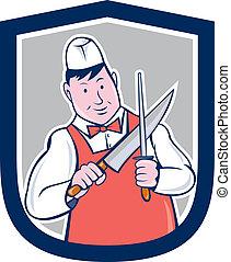afilado, cuchillo de carnicero, caricatura