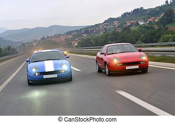 afinación, coches, sacing, abajo, el, carretera