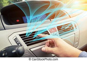 afinando, grille, motorista, ar, ventilação, mão