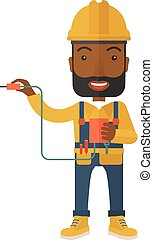 Afircan Electrician holding power cable plug