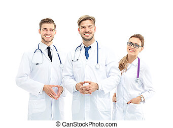 afirmativo, médico, contra, fundo, equipe, Retrato, branca