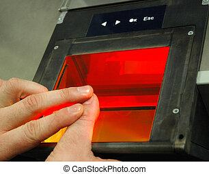 (afis), odcisk palca, zidentyfikowanie, zautomatyzowany, ...