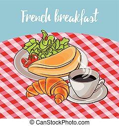 afisz, śniadanie, francuski