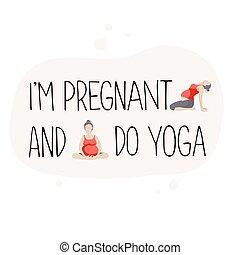 afisz, dla, reklama, brzemienny, yoga.