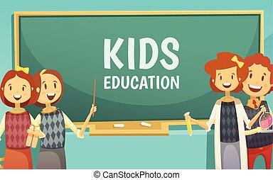 afisz, dzieciaki, wykształcenie, główny, rysunek