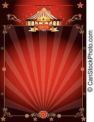 afisz, fantastyczny, cyrk, magia, czerwony