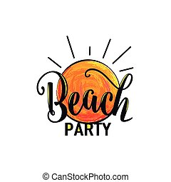 afisz, ilustracja, wektor, szablon, partia, logo, plaża