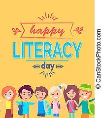 afisz, ilustracja, wektor, szczęśliwy, dzień, umiejętność czytania i pisania