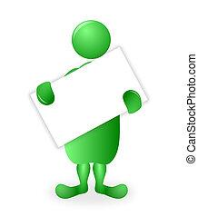 afisz, litera, zielony, deska, dzierżawa, czysty, biały, 3d