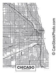 afisz, mapa, wektor, miasto, chicago