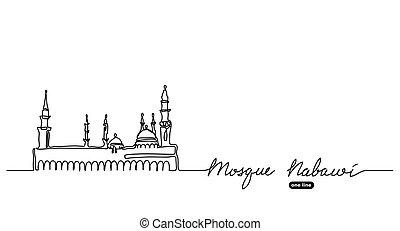 afisz, meczet, ciągły, jeden, nabawi, tło, chorągiew, ...