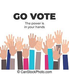afisz, motivational, szablon, towarzyski, iść, vote.