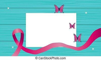 afisz, motyle, rak, świadomość, miesiąc, wstążka, różowy