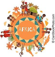 afisz, okrągły, symbolika, kulturalny, afrykanin, skład