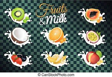 afisz, owoc, przeźroczysty, tło, mleczny
