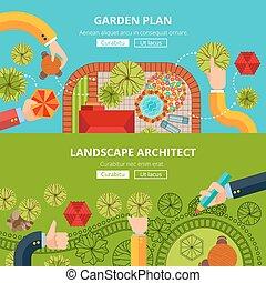 afisz, pojęcie, projektować, ogród, krajobraz