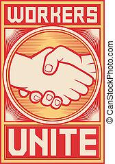 afisz, pracownicy, jednoczyć
