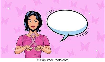 afisz, rak, kobieta, podnoszenie, świadomość, miesiąc, wstążka, różowy