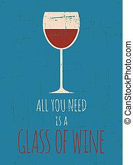 afisz, retro, czerwone wino