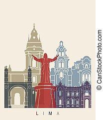 afisz, sylwetka na tle nieba,  Lima