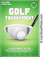 afisz, turniej, golf, szablon