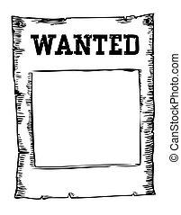 afisz, wizerunek, wektor, biały, poszukiwany