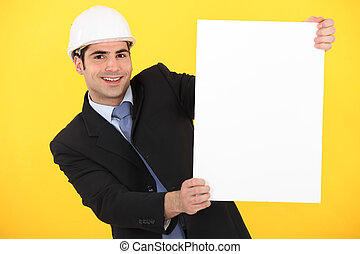 afisz, zbudowanie, biznesmen, dzierżawa, czysty