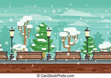 afisz, zima krajobraz, ogród
