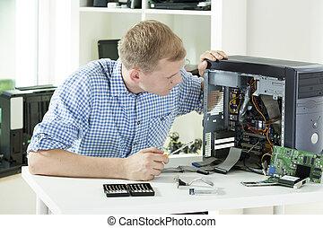 afixando, computador, homem