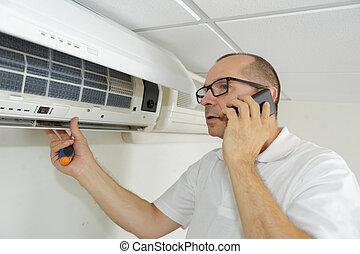 afixando, condicionamento, sistema, manter, ar