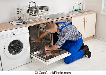 afixando, dishwasher, repairman