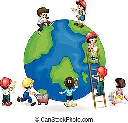 afixando, globo, quadro, crianças