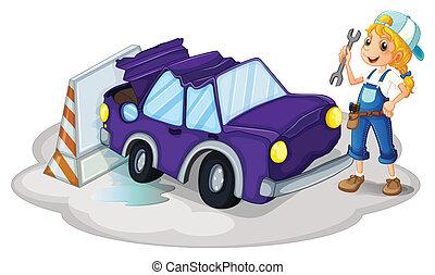 afixando, mulher, car, violeta