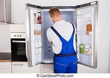 afixando, repairman, refrigerador