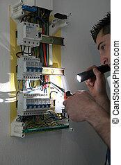 afixando, tradesman, interruptor, circuito