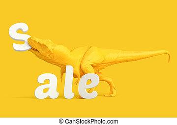 af)knippen, concept., bevat, verkoop, letters., steegjes, t-rex