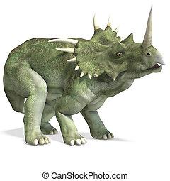 af)knippen, dinosaurus, op, vertolking, styracosaurus.,...