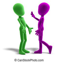 af)knippen, discussion., pictogram, toon, op, vertolking, hebben, karakters, steegjes, schaduw, mannelijke , witte , 3d