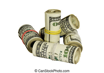 af)knippen, dollars, witte , vrijstaand, achtergrond,...