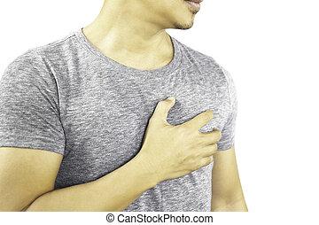 af)knippen, hand, hart, path., pijn, houden, vrijstaand, man, borst, hebben, zijn