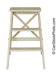 af)knippen, houten ladder, vrijstaand, steegjes, witte