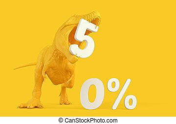 af)knippen, illustration., concept., bevat, 50, precent, verkoop, korting, steegjes, t-rex, teken., 3d