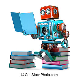 af)knippen, illustration., isolated., books., bevat, robot, retro, steegjes, lezende , 3d
