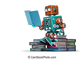 af)knippen, isolated., bevat, robot, book., retro, steegjes, lezende