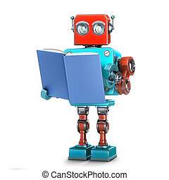 af)knippen, isolated., robot, illustratie, book., steegjes, lezende , 3d