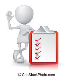 af)knippen, lijst, aantekening, persoon, blok, controleren,...