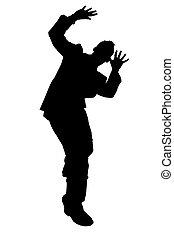 af)knippen, silhouette, steegjes, man, zakelijk, cowering